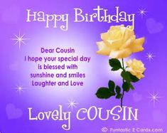 Happy Birthday Wishes For Cousins Cards Free Ecard