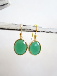 Green bezel framed earrings round cut green earrings by Muse411, $26.00