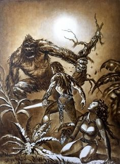 Conan and the Giant Ape !! Iron Shadows in the Moon Robert E. Howard Art Print Original Oil by Marcus Boas!! Comic Art