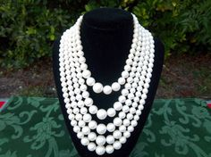 Vintage 5 Strand Graduated White Faux Pearl by Sarasvintageattic,