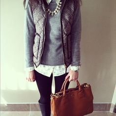 Light Grey Sweater with Layered Button-Up, Vest & Black Jeans