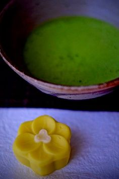 Japanese matcha tea and sweets called wagashi traditionally served during tea ceremony to compliment the bitter tea flavor