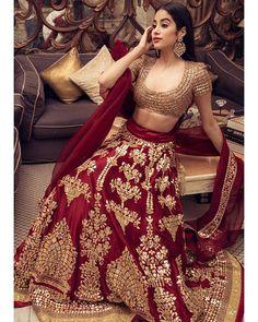 Janhvi Kapoor in a red and gold lehenga sets fashion at Isha Ambani, Anand Piramal's wedding - Clever Fashion Media Muslim Wedding Dresses, Indian Wedding Outfits, Bridal Outfits, Indian Outfits, Indian Clothes, Wedding Lenghas, Desi Clothes, Bridesmaid Dresses, Gold Lehenga