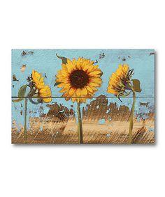Look at this #zulilyfind! Sunflowers on Wood IV Wrapped Canvas #zulilyfinds
