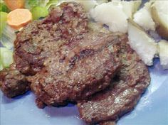 Easy Venison Steaks from Food.com: Whenever I don't have alot of time to make supper, this is so easy and quick. You can mix all the ingredients on wax paper and when finished just throw it away. My man loves venison this way.