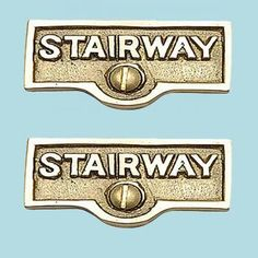 2 Switch Plate Tags STAIRWAY Name Signs Label Lacquered Brass