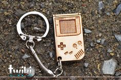 Laser cut and engraved Game Boy wood keyring. By TwikiConcept on Etsy