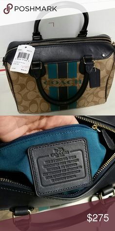 LOWEST&FINAL! NWT COACH PURSE!!!! AUTHENTIC Khaki and midnight colors measures 9 inch by 6 inch by 5 inch new with tag authentic beautiful coach comes with shoulder strap Coach Bags