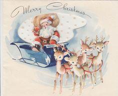 Vintage Greeting Christmas Santa Claus Sleigh Reindeer An Artistic Card r463