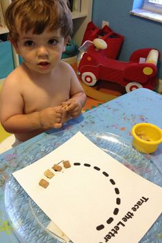 """Making the letter """"C"""" using Chex Cereal Alphabet Activities, Preschool Activities, Chex Cereal, Letter C, Tracing Letters, Beginning Sounds, Tot School, Young Children, Motor"""