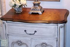 My first project using Chalk Paint was a French Provencal bedroom set that I found on Craigslist. There were three pieces: a side table, a chest of drawers, and… Chalk Paint Furniture, Painted Furniture, Furniture Redo, Furniture Dolly, Distressed Furniture, Refurbished Furniture, Bedroom Furniture, Furniture Ideas, Dyi