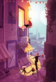 romeo__juliette_and_a_solex_by_pascalcampion600_876 Pascal Campion is a French-American illustrator who has worked in a wide variety of media and created cute illustrations in clean and minimalist styles. He studied narrative illustration at Arts Decoratifs de Strasbourg, in France. He works in a studio with high ceilings in San Francisco.