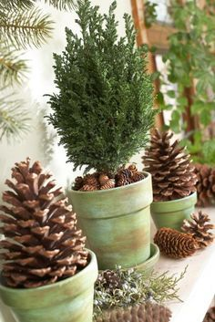 Pinecone and Clay Pot Mantel, for Christmas