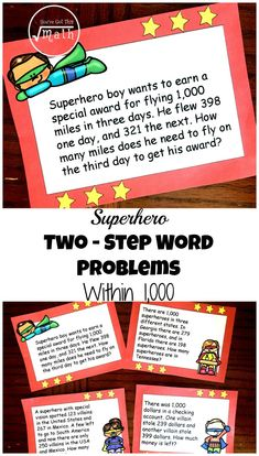 Grab these superhero two-step word problems within 1000 to help children practice word problems. The fun superhero theme adds excitement to the task.