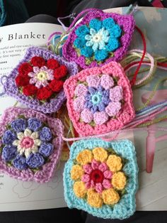 Crochet granny flowers from Crochet with Flowers by Nicki Trench.