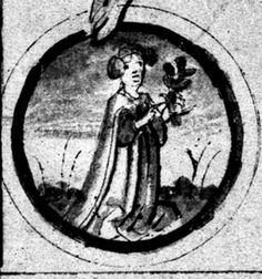 Virgo with a plant (Spica) - without wings - ARTIST/CREATOR German DATE 1446 LOCATION London, British Library → Add. 17987, fol. 73r TEXT/BOOK/DOCUMENT Astrological/Medical Treatise