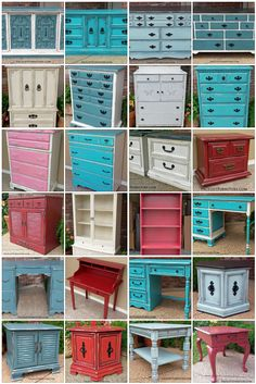Vintage furniture transformed with paint, glaze & distressing. DIY inspiration from Facelift Furniture!