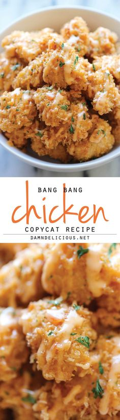 Bang Bang Chicken ~ Recipe: Meat 1 lb Chicken breasts, boneless skinless 2 tsp Frank's hot sauce Refrigerated 1 Egg, large Condiments 2 tbsp Chili sauce, sweet 1 tbsp Honey 1 tbsp Hot sauce 1/4 cup Mayonnaise Baking & Spices 3/4 cup All-purpose flour 1/2 cup Cornstarch 1 Kosher salt and freshly ground black pepper Oils & Vinegars 1/2 cup Vegetable oil Bread & Baked Goods 1 cup Panko Dairy 1 cup Buttermilk #Recipes www.bebuzee.com
