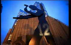 The Hammering Man sports Seahawks pride in front of the Seattle Art Museum on Friday evening. Seahawks Playoffs, Seattle Seahawks, Earl Thomas, Seattle Art Museum, Richard Sherman, Seattle Area, 12th Man, Running Back, Beast Mode