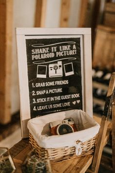 Chalkboard Wedding Sign with Polaroid Camera | By Jessica Lily Photography | 2020 Wedding | Summer Wedding | Socially Distnaced Wedding | Intimate Wedding | Barn Wedding | Pampas Grass at Wedding | Outdoor Wedding | Wedding Sign | Wedding Decor |