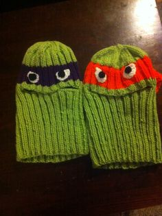 Ninja Turtle Balaclava's for my Grand Son's Keller and Riker.