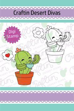 Cactus Coffee Digital Stamp - Craftin Desert Divas