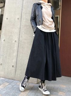 Normcore Fashion, Look Fashion, Fashion Outfits, Womens Fashion, Japan Fashion Casual, Winter Fashion Casual, Modest Casual Outfits, Conservative Outfits, Long Skirt Fashion