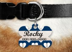 Personalized Dog Tag - Dog ID Tag - Personalized Bone Dog Tag - Custom Pet ID Tag - Keep Clam and Carry the Dog Treats Pet ID Tag by MysticCustomDesignCo on Etsy