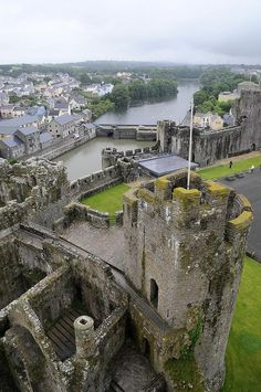 View from the towers of Pembroke Castle / Wales (by Niall... - Its a beautiful world