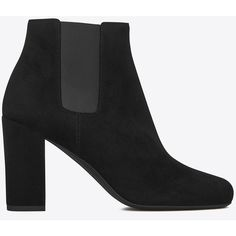 Saint Laurent Babies 90 Ankle Boot In Black Suede ($895) ❤ liked on Polyvore featuring shoes, boots, ankle booties, black, ankle boots, suede boots, short black boots, black suede boots and high heel booties