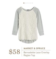Market & Spruce Bernadette Lace Overlay Raglan Top Would like this in 4th fix,