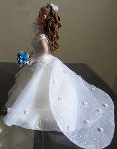 Passo a Passo Vestido de Noivinha em Biscuit e Tecido_intermediário_ Par...