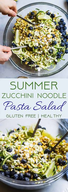 Summer Zucchini Noodle Pasta Salad - This gluten free Zucchini Noodle Pasta Salad is an easy, healthy side dish loaded with smoky grilled corn, sweet blueberries and  a tangy honey lime basil vinaigrette! Perfect for summer potlucks and onl