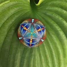 Mandala Stone sacred geometry hand painted dot painting