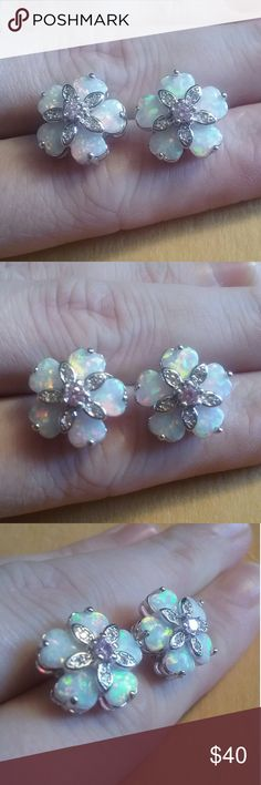 White Opal pink topaz floral earrings Has matching ring  Brand new marked 925 Jewelry Earrings