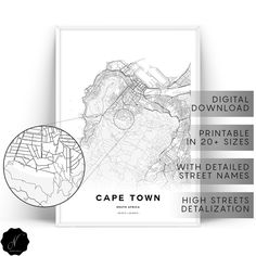 Cape Town Map Printable Wall Art, Map Gifts, Map As Art,  Cape Town City Map Print, Printable Map Of Cape Town Wall Art Prints, City Maps
