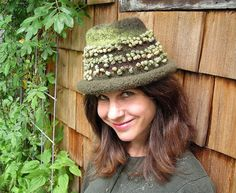 Handknit Felted Green Hat or Cloche with Bobbly Novelty Yarn