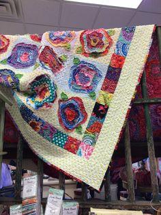Kaffe Fassett from Quiltique Rag Quilt, Scrappy Quilts, Mini Quilts, Quilt Blocks, Flower Quilts, Fabric Flowers, Fabric Scraps, Scrap Fabric, Rose Tutorial