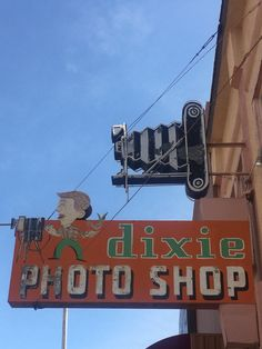 Vintage Dixie Photo Shop Neon Sign Camera Shop Sign Advertising Signs, Vintage Advertisements, Camera Shop, Camera Stores, Funny Road Signs, Storefront Signs, Retail Signs, Vintage Neon Signs, Marquee Sign