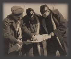 Cameronians officers studying a map during WWI