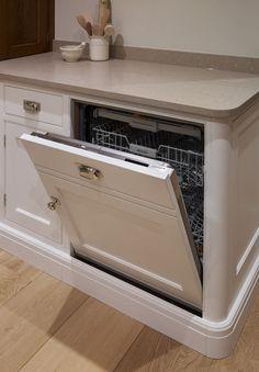 "The #Nickleby kitchen design installed in St. Albans has handpainted cabinetry in Farrow & Ball ""Slipper Satin"". The Miele dishwasher is fully integrated. #humphreymunson #farrowandball #slippersatin #miele #oak #kitchen #interior #design #ideas #bespoke #inspiration"