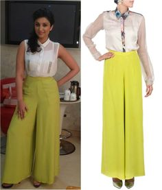 GET THIS LOOK: Parineeti Chopraa goes for a chic urban look wearing the chartreuse palazzo pants by Pernia Qureshi.  Shop at http://www.perniaspopupshop.com/designers-1/pernia-qureshi/pernia-qureshi-chartreuse-palazzo-pants-pqp0713sstr11.html