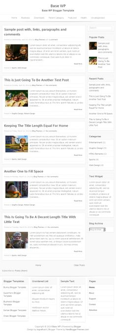 Base WP Blogger Template:  Base WP Blogger Template is good your personal blog or as a business Blogger theme, based on _s with integration of skeleton 960 grid. Base WP Template has a Responsive Layout, Navigation Menu, Right Sidebar, 4 Column Footer and More Features.  http://newbloggerthemes.com/base-wp-blogger-template/