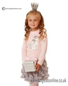 Kate Mack designer girls clothes. Long sleeved pink sequin poodle top & grey ruffled skirt by Kate Mack. Winter 2015 girls clothing  Kate Mack. Kate Mack Scotland.