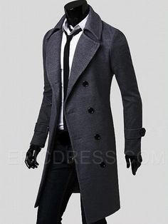 Ericdress Plain Double-Breasted Slim Long Men's Woolen Coat Men's Coats