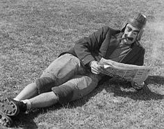 Groucho Marx getting ready for the football season.