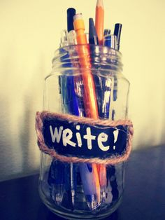 Reuse a jelly jar to organize loose writing utensils- chalkboard contact paper, twine and liquid chalk marker.