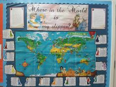 Where in the World is my slipper? Great example of a board that displays Cinderella stories from around the world.
