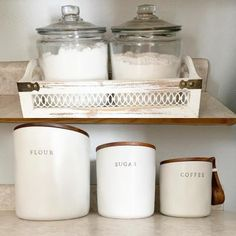 Read reviews and buy Stoneware Flour Canister with Wood Lid - Hearth & Hand™ Magnolia at Target. Choose from contactless Same Day Delivery, Drive Up and more. Ceramic Canister Set, Flour Canister, Canister Sets, Storage Canisters, Chip And Joanna Gaines, Kitchen Countertops, Hearth, Food Storage