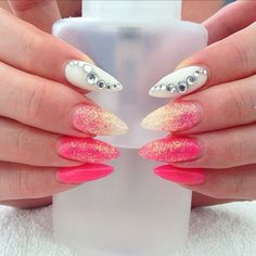 Pink white and glitter